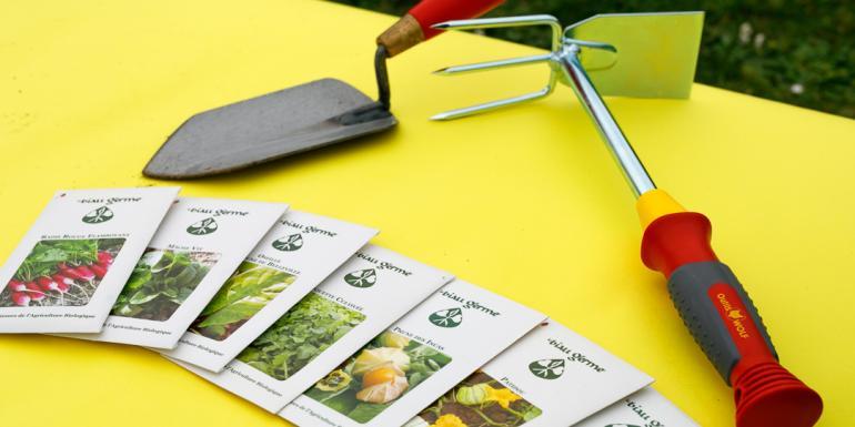 Les équipements nécessaires : gants, serfouette à main, graines